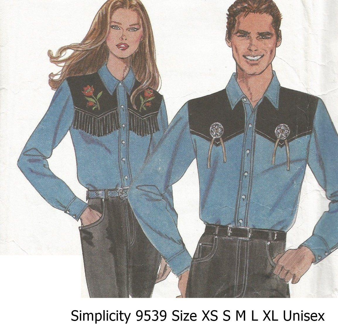 Simplicity9539sewingpatternwesternshirtsmensmissesteens simplicity 9539 sewing pattern western shirts mens misses teens sizes xsm sm md lg jeuxipadfo Images