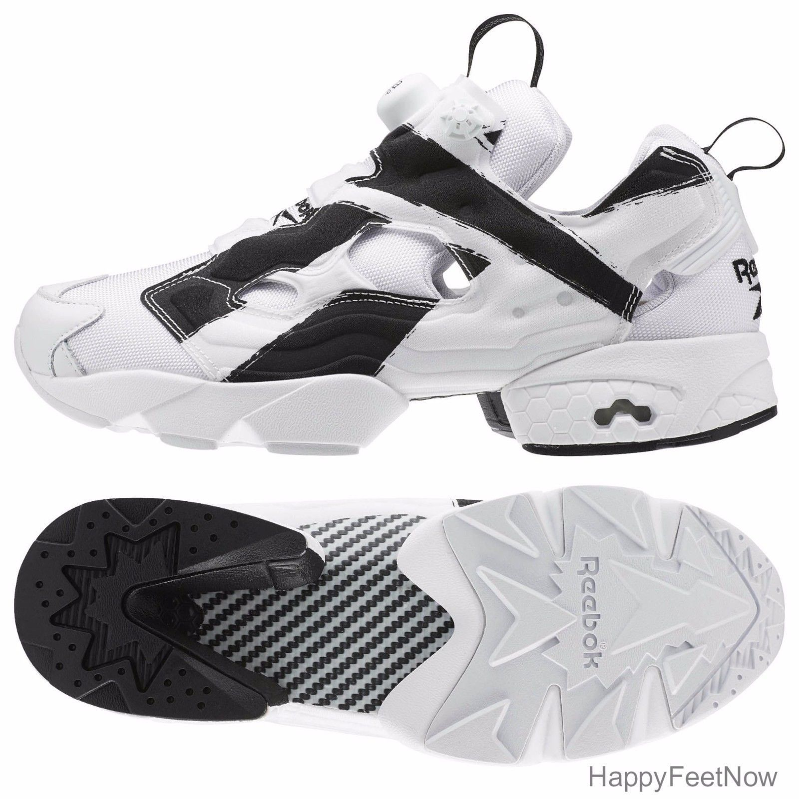 REEBOK FUTURE INSTAPUMP FURY OVERBRANDED MENS SHOES SIZE 10.5 WHITE BLACK AR1413