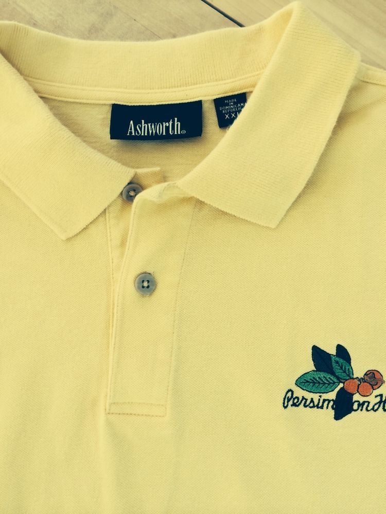 ASHWORTH golf shirt men's polo 2XL. Soft shade of yellow with a Persimmon Hill logo on chest. Great shirt! #Ashworth #PoloRugby #PersimmonHill