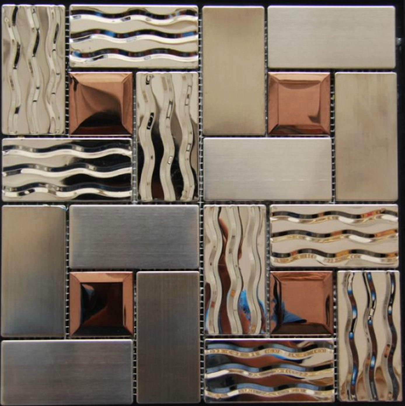 Stainless steel tile backsplash ssmt269 kitchen mosaic glass wall online buy glass metal mosaic tiles for kitchen backsplash bathroom wall flooring remolding at factory wholesale price huge selection of glass mosaic dailygadgetfo Choice Image