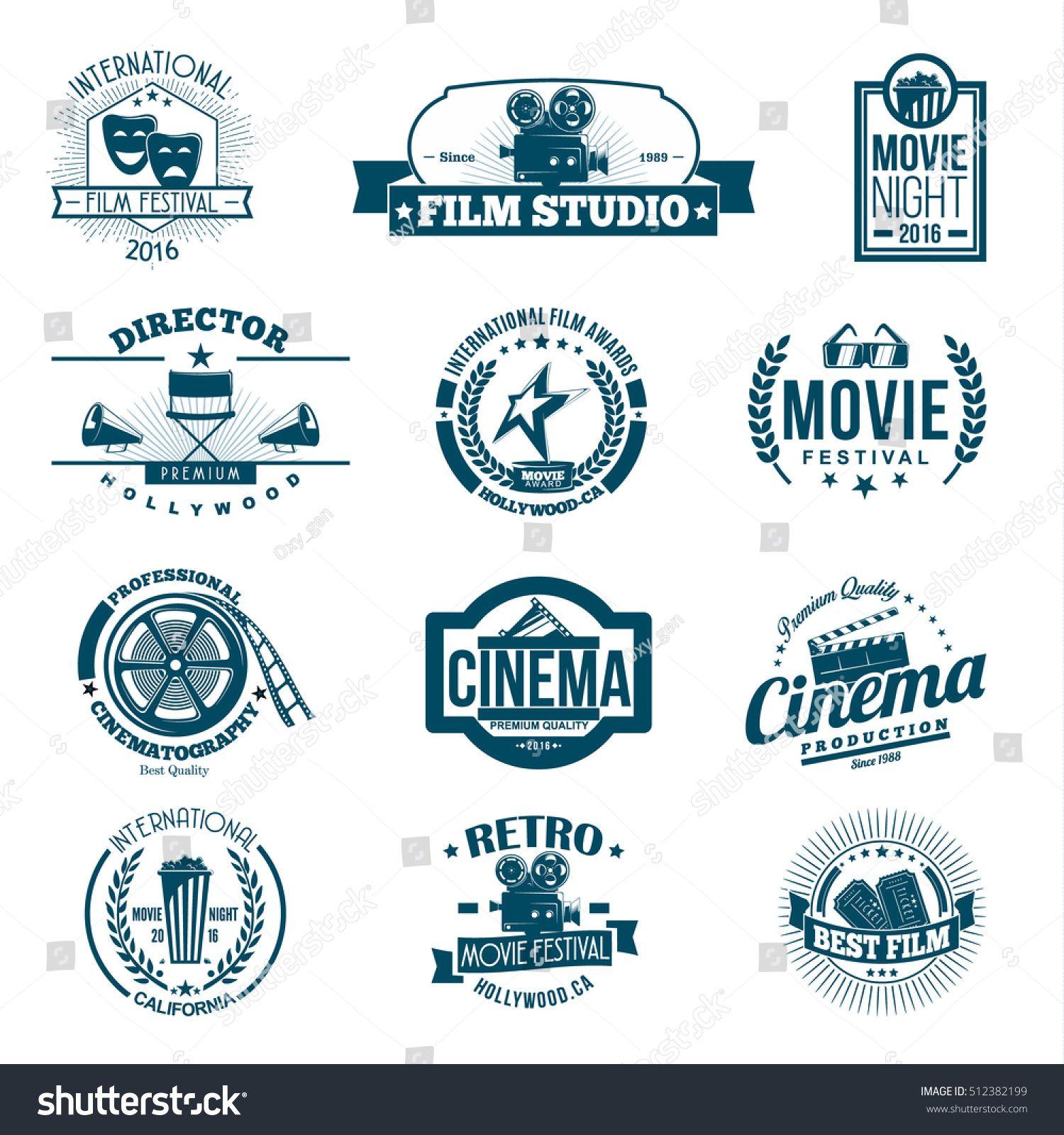 Black Cinema Retro Signs Emblems And Logo Set Vector Illustration Retro Sign Vintage Logo Design Emblem Logo