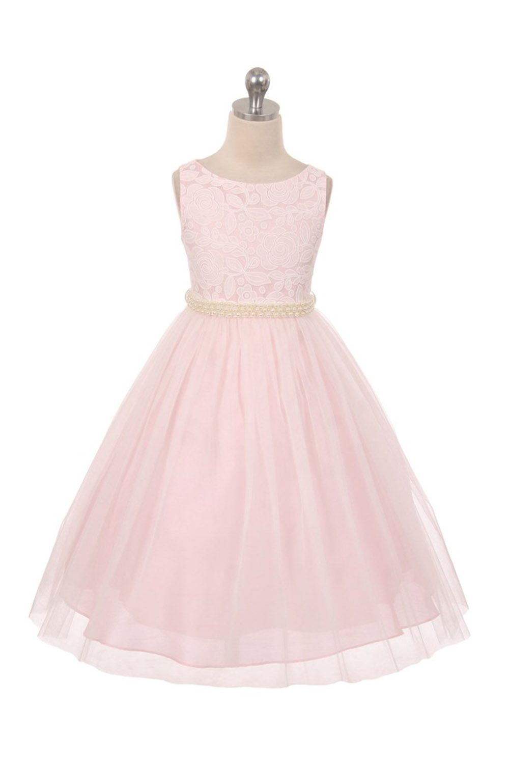 3ca8c94efc8 Flower girl dress blush pink lace top with curl tulle skirt