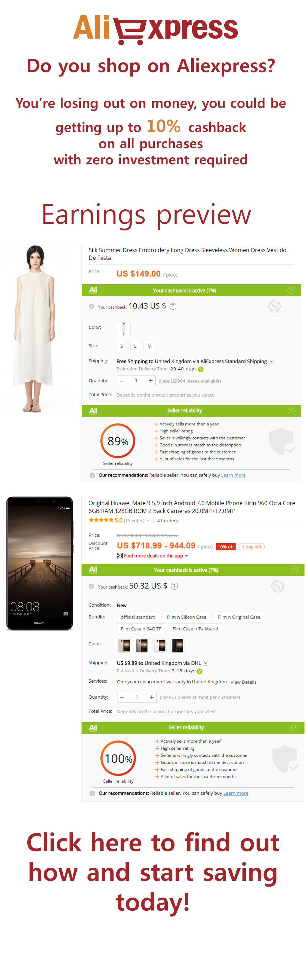 Do you shop on aliexpress? Save money by getting cash back on all Aliexpress purchases with zero investment required