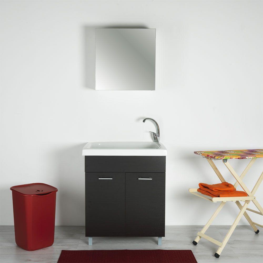 Vasca lavapanni 75x65 in ceramica con mobile Rodano Wenge