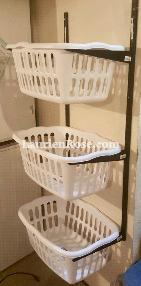 Get Organized By Hanging Laundry Baskets On The Wall With This