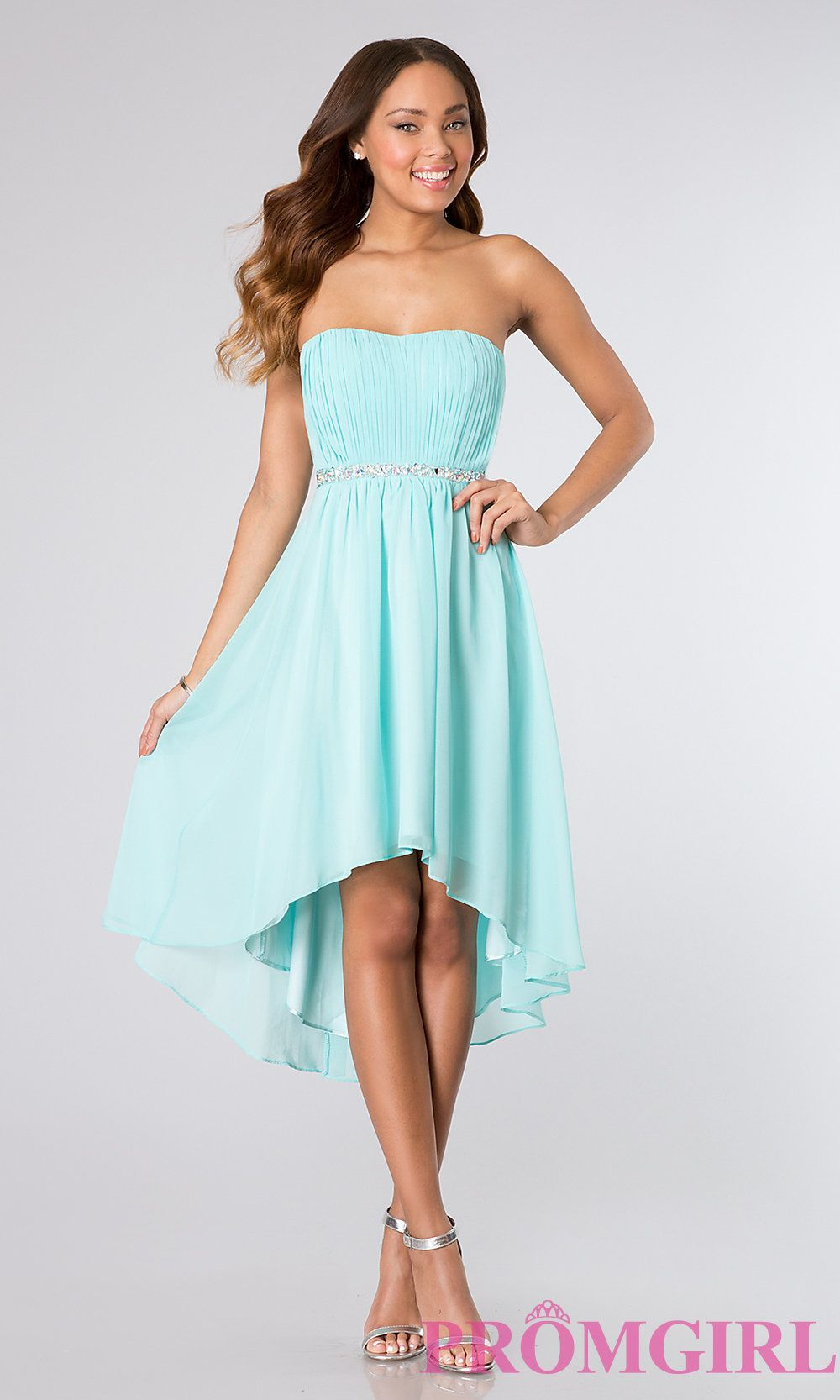 Light teal high low strapless dress | Graduation | Pinterest | Light ...