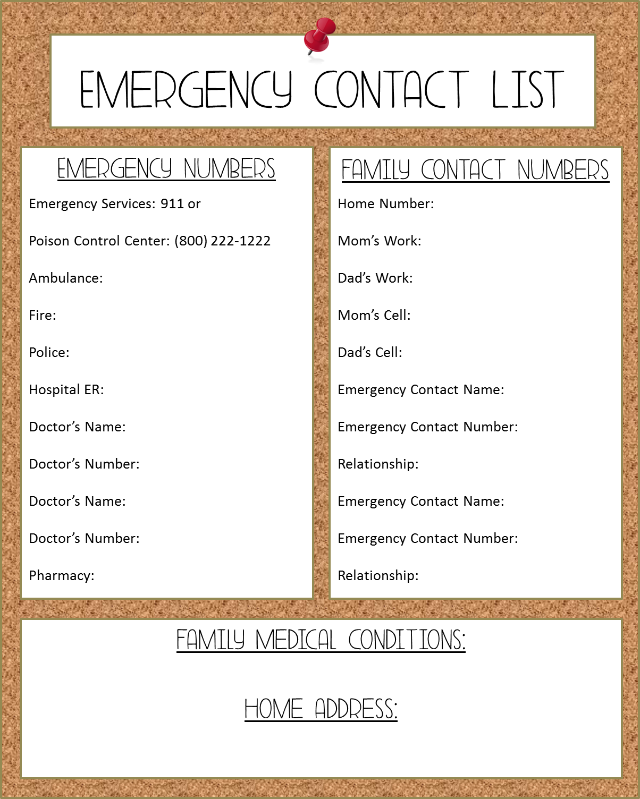 Free Printable Emergency Contact List  Primary    Free