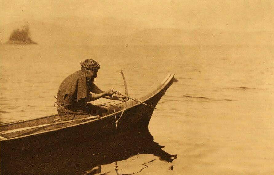 American Indian canoe photograph : A Sea Otter Hunter