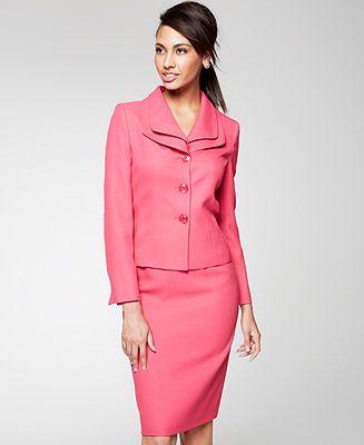 Evan Picone Three Button Textured Skirt Suit Suits Suit