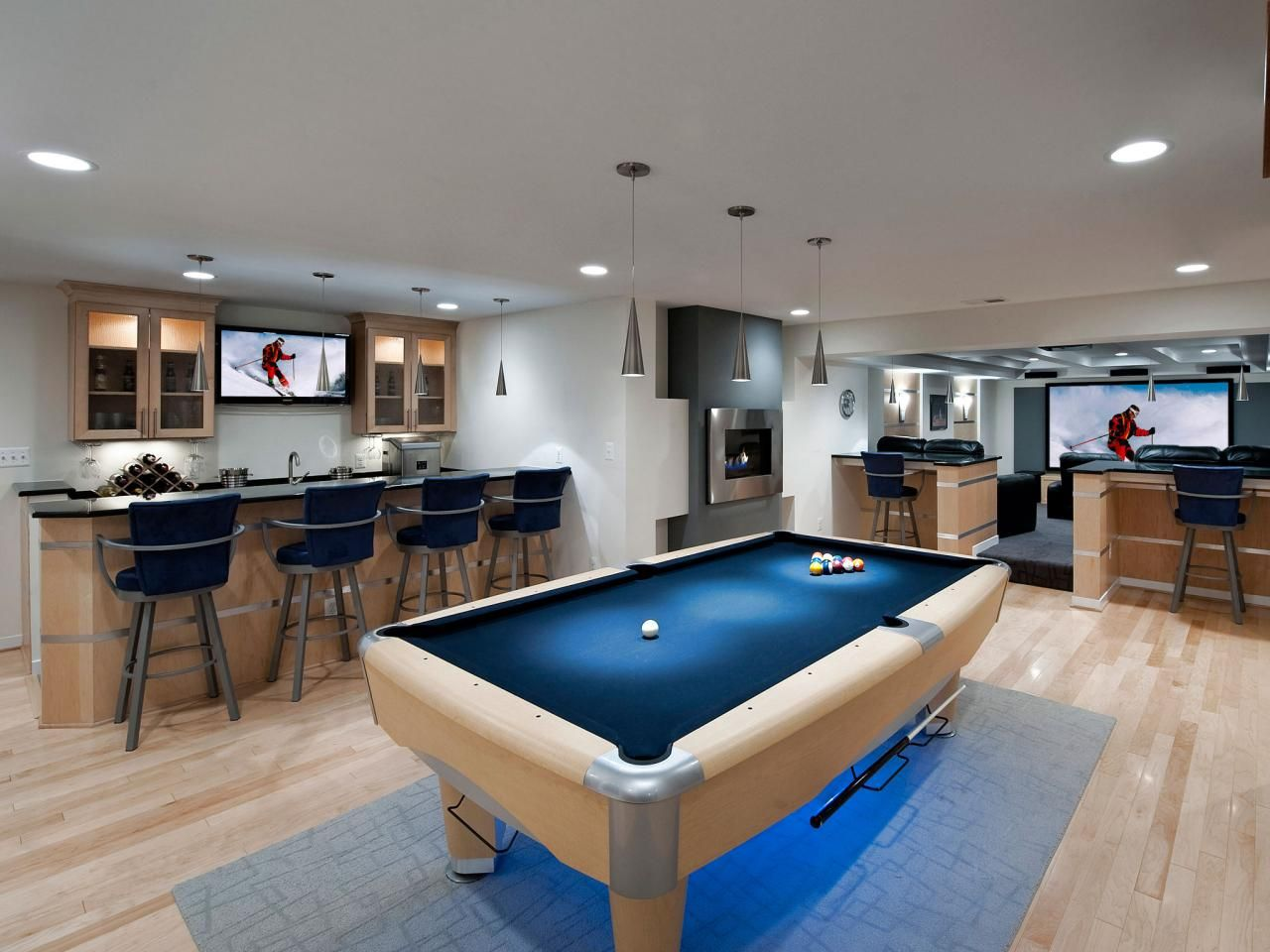 Man Cave And Media Room Modern Basement Home Bar Designs Basement Design