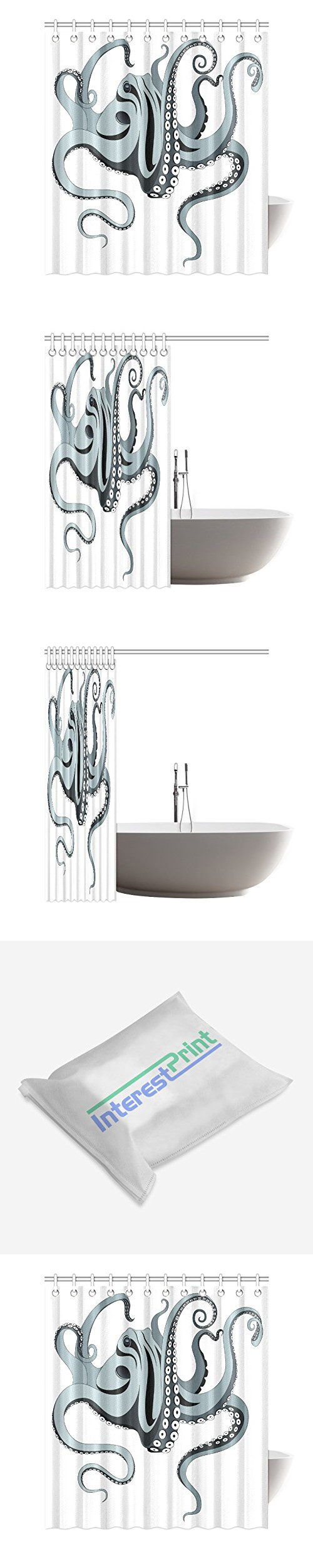 InterestPrint Home Bathroom Decor Funny Art Hipster Octopus Shower Curtain Hooks 66x72 Inch Black White And Grey Fabric Sea Ocean Spreading Tentacles