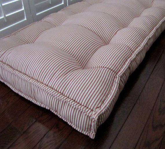 Custom Cushions Red Ticking Stripe French Mattress