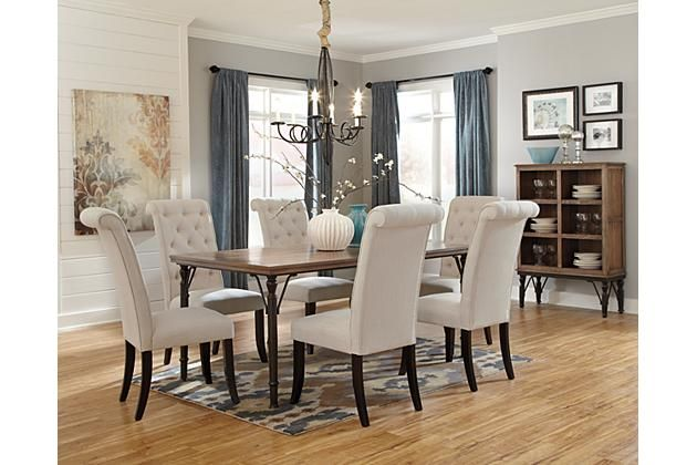 Linen Tripton Dining Room Chair View 3 Ashley Furniture 112 For 2 Cream Linen Hairs Free Returns Casual Dining Rooms Dinning Room Sets
