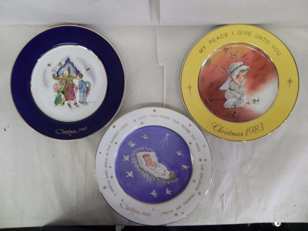 Lot of 3 Eve Rockwell Christmas Plates 1981 1982 1983 Jesus Shepherd Nativity