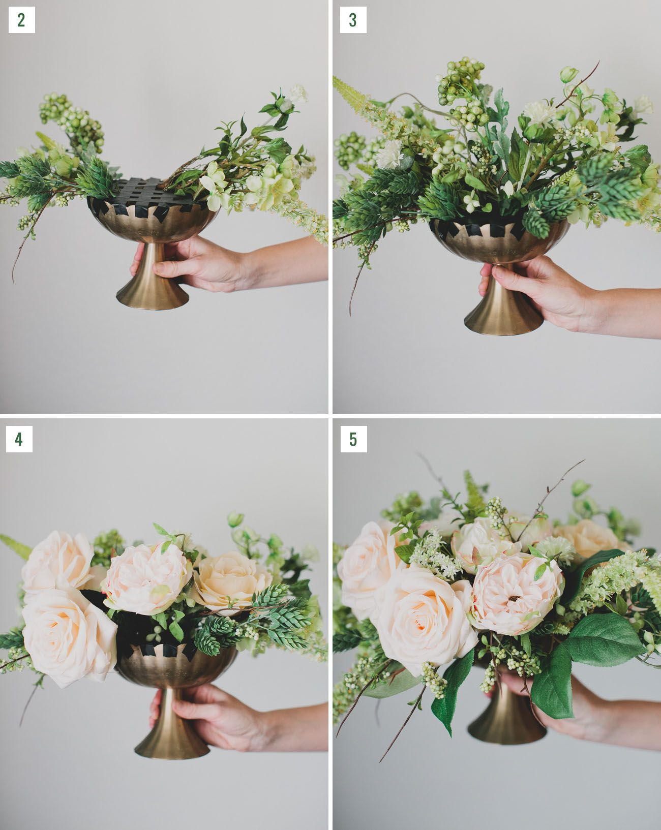 DIY Silk Flower Centerpiece Green Wedding Shoes Silk