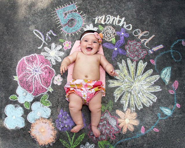 5 month old sidewalk chalk baby photo love this idea