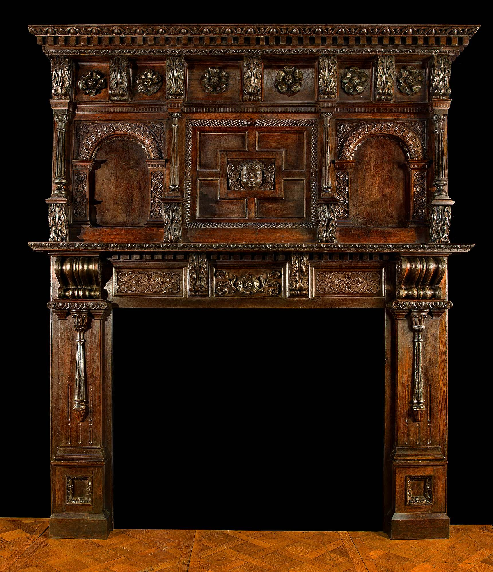 Antique Carved Wood Fireplace In The Jacobean Revival Manner Fireplace Mantels Wood Fireplace Antique Fireplace Mantels