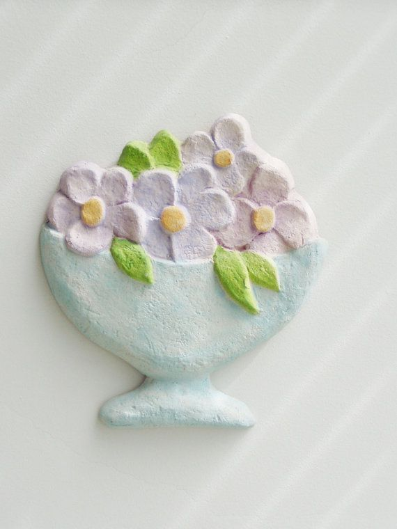 Vase with flowers wall hanging ceramic vase by ArktosCollectibles