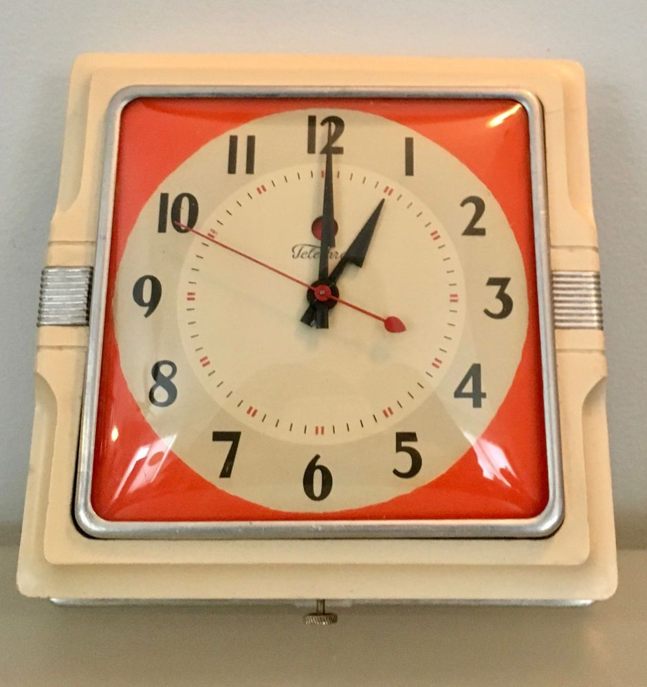 VTG Telechron Cafe Electric Kitchen Wall Clock Model 2H11 1940\'s Art ...
