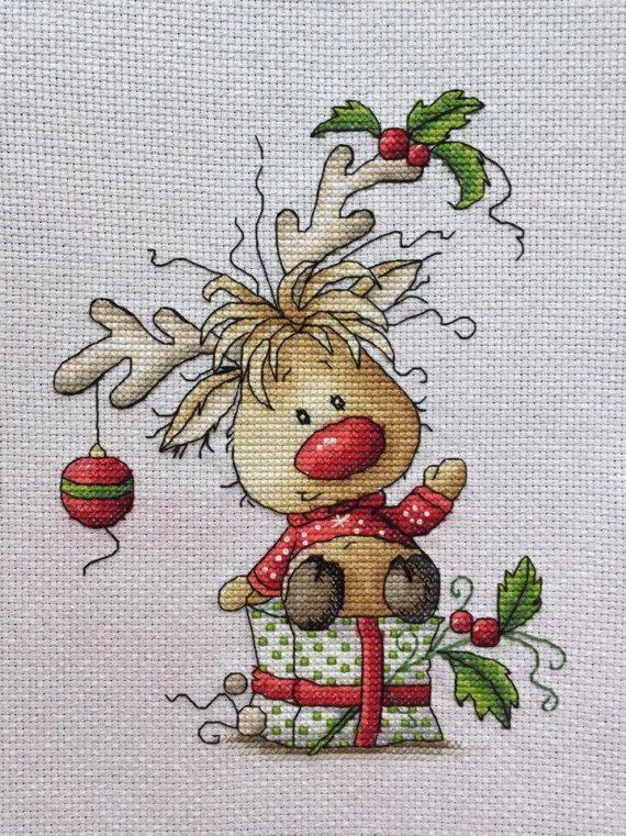 Scheme Of Cross Stitch Christmas Deer High Quality Scheme For Embroidery Painting In Our Con Imagenes Punto De Cruz Navideno Punto De Cruz Navidad Bordados En Punto Cruz