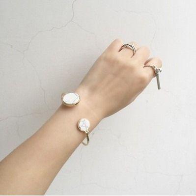 White Marble Statement Bracelet