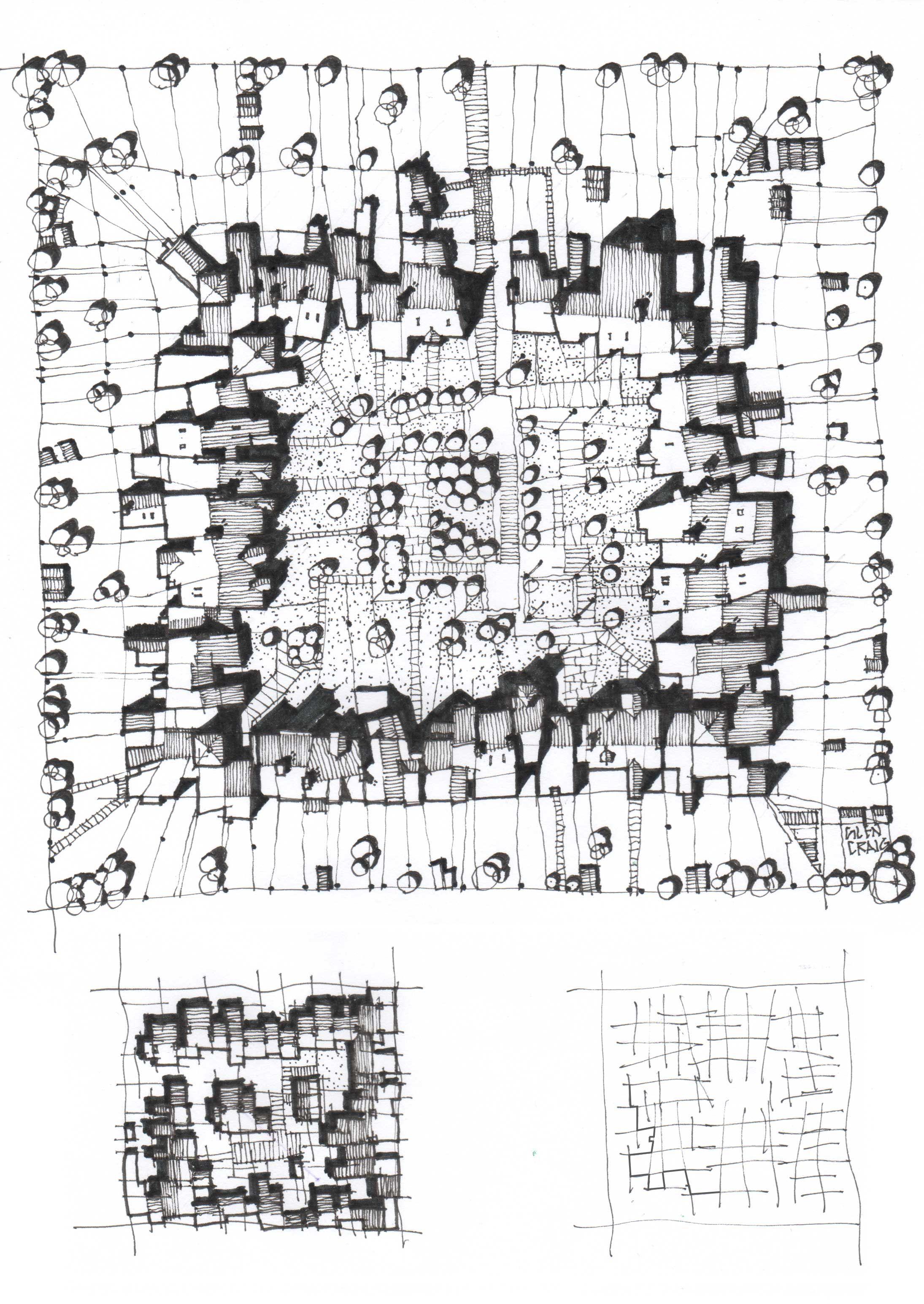 Courtyard pen and ink sketch of a courtyard development urban