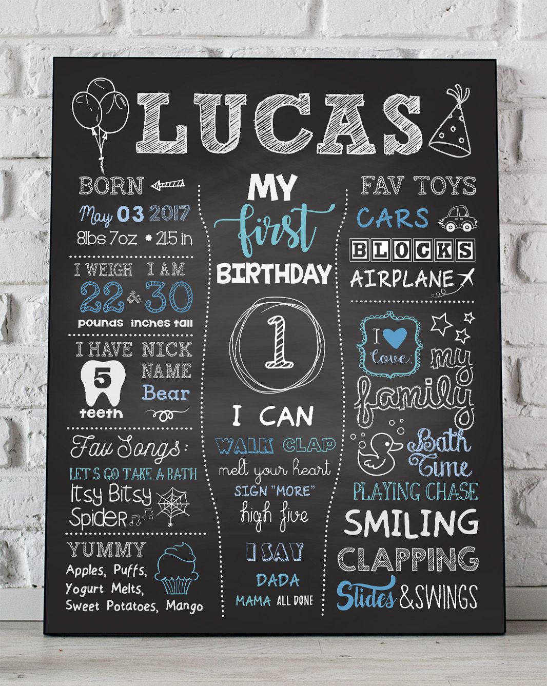 picture regarding First Birthday Chalkboard Printable named Youngster Boy Initial Birthday Chalkboard, Boys 1st Birthday