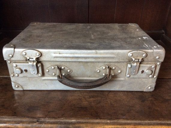 Vintage French leather handled aluminium metal travel hard case suitcase bag circa 1960's / English Shop