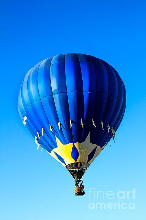Blue And Starred Hot Air Balloon : See more images at http://robert-bales.artistwebsites.com/