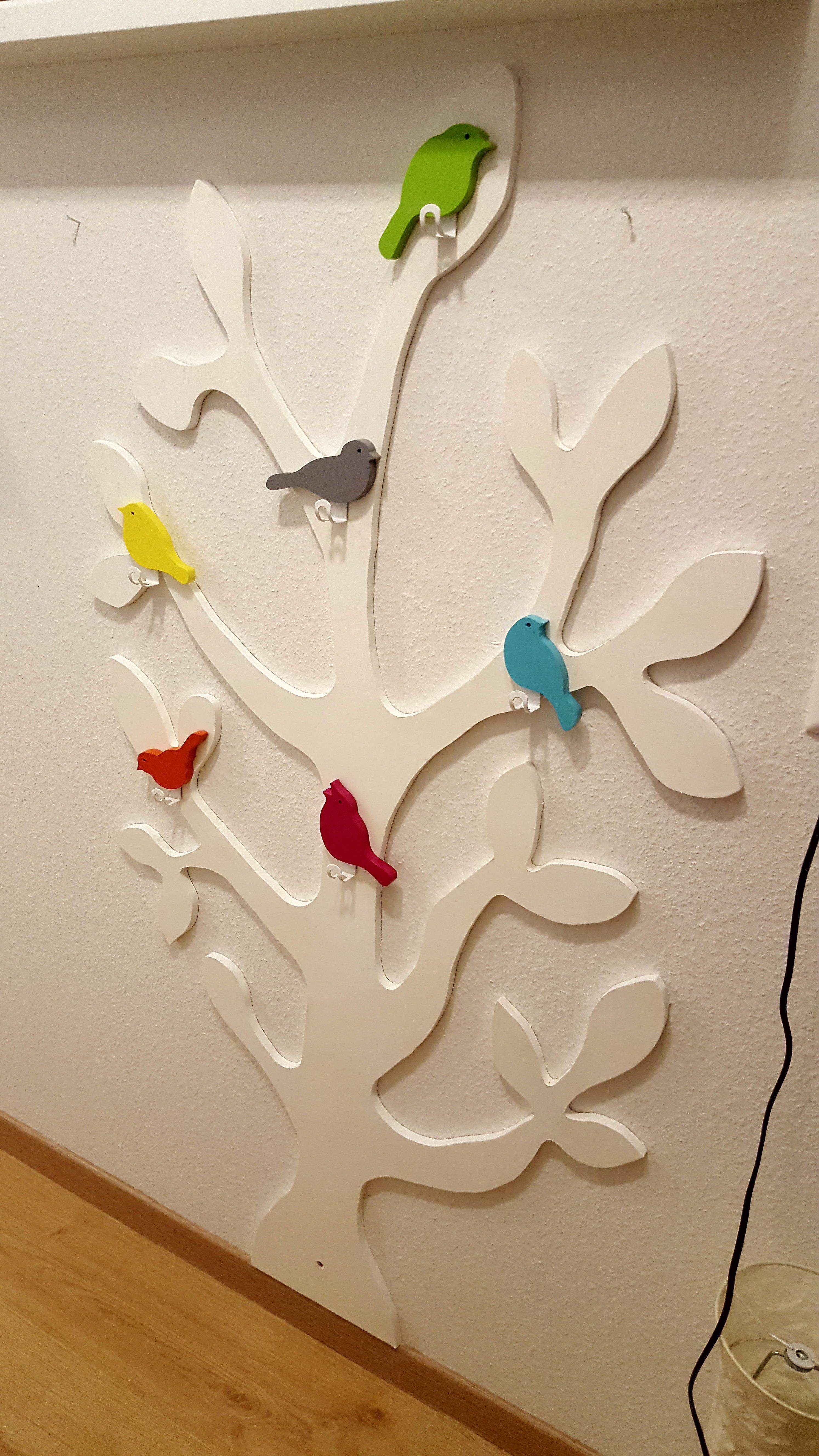 kinder-garderobe baum vögel weiß fertig | basteleien | pinterest