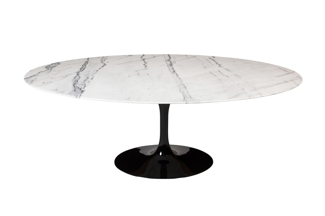 Saarinen Style Tulip Marble Dining Table 77 Oval Dining Table