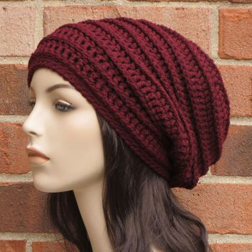e29f2bbec80 Crochet Slouchy Hat - Wine Red Slouchy Beanie - Womens Ribbed Beanie Hat - Winter  Slouchy Hat    THE HARLOW