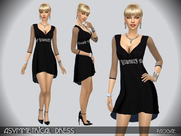 Asymmetrical dress by Paogae at TSR • Sims 4 Updates