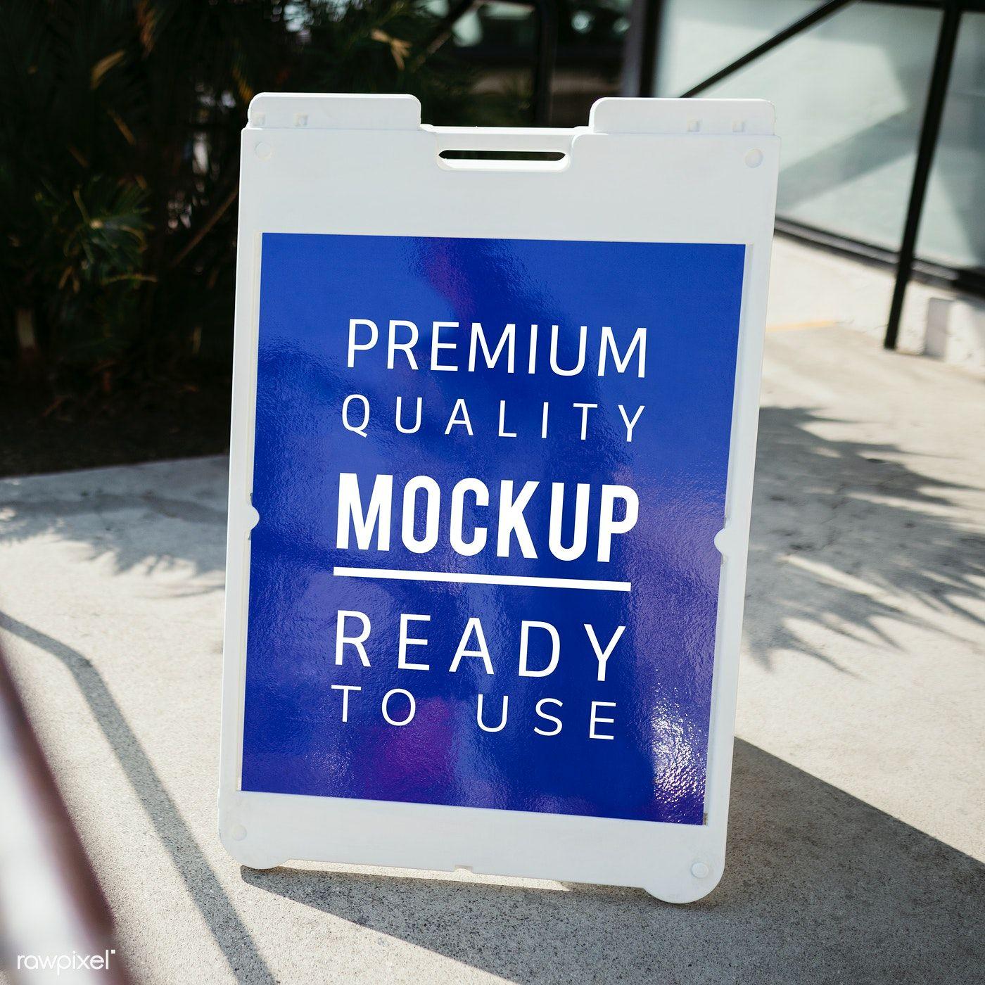 White Floor Stand Sign Mockup Outside A Restaurant Free Image By Rawpixel Com Mckinsey Sign Mockup Mockup Flyer Mockup