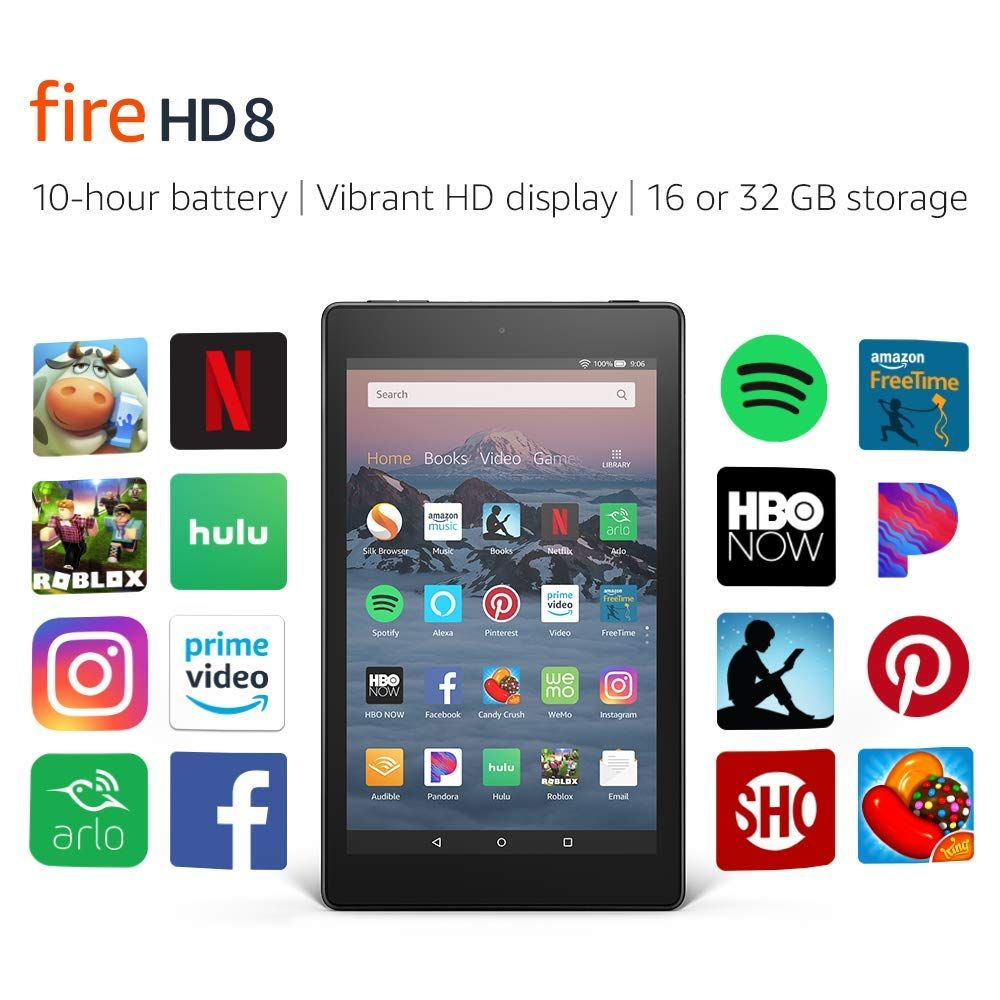 Amazon com: All-New Fire HD 8 Tablet  Up to 10 hours of battery