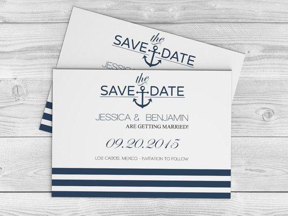 navy anchor striped printable wedding save the date editable pdf