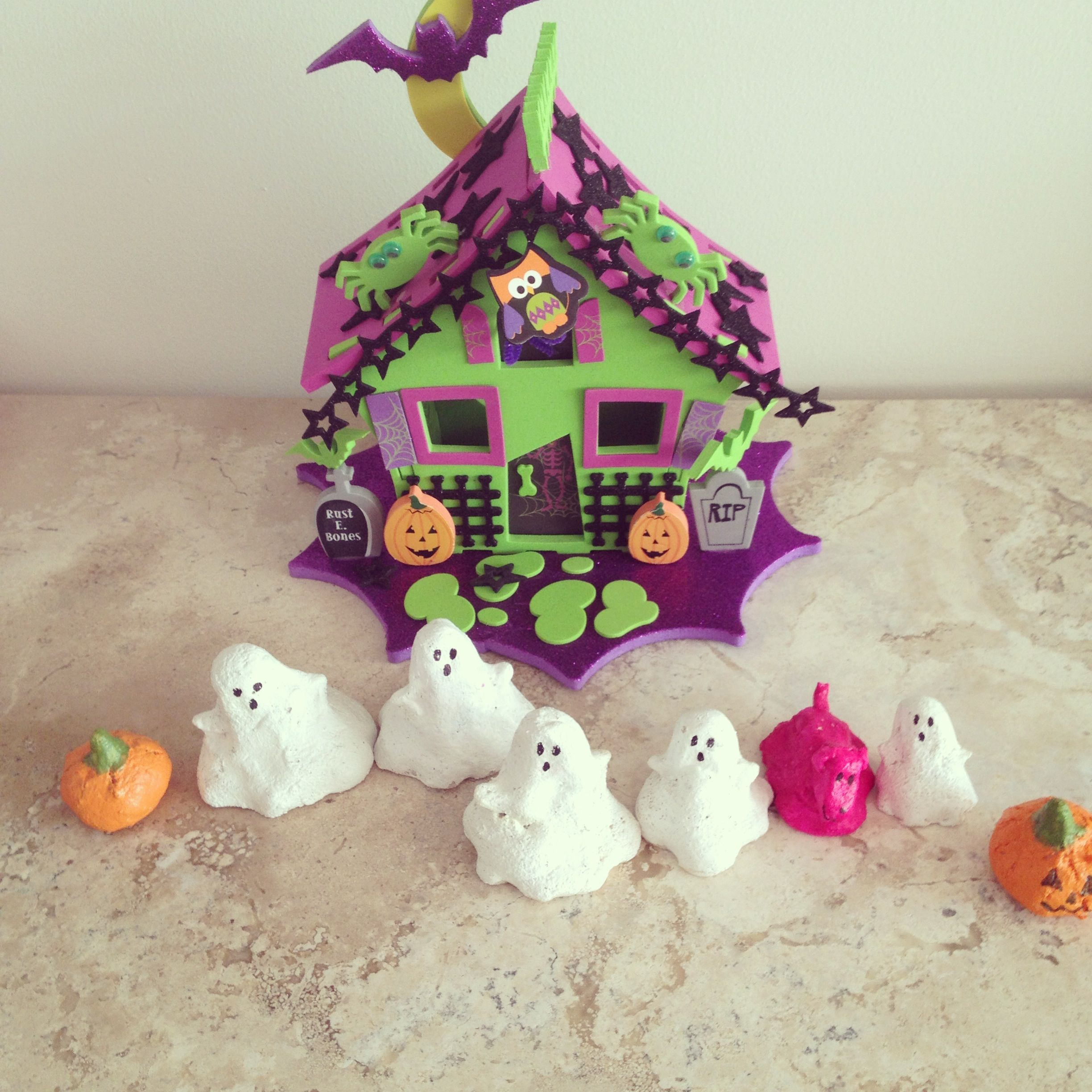 Salt dough ghosts and foami house (from Michaels) HALLOWEEN - michaels halloween decorations