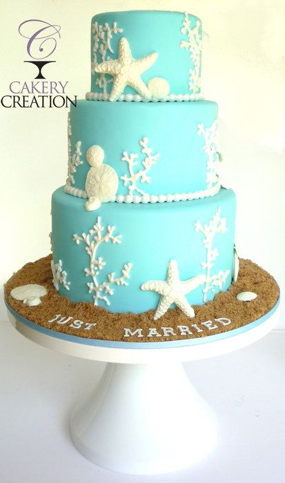 Beach Wedding cake - by Cakery Creation | such a great cake!! Would be a cute bday or bridal shower cake too