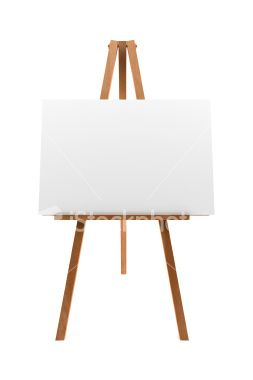 Wooden Easel With Blank Canvas Isolated On White Background Wooden Easel Canvas White Background Photo