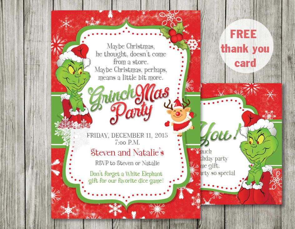 Grinch Invitations, Christmas Invitations, Grinch Stole Chistmas   Free  Xmas Invitations  Free Xmas Invitations