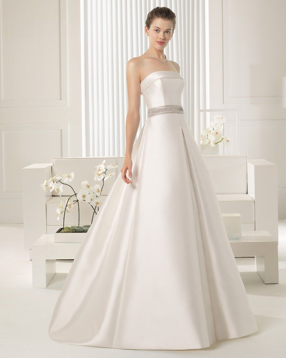 Laudable sweep train aline strapless wedding dress with cape and
