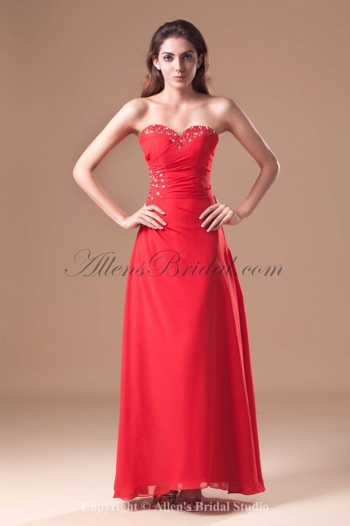 Chiffon sweetheart floor length aline crystals prom dress on sale