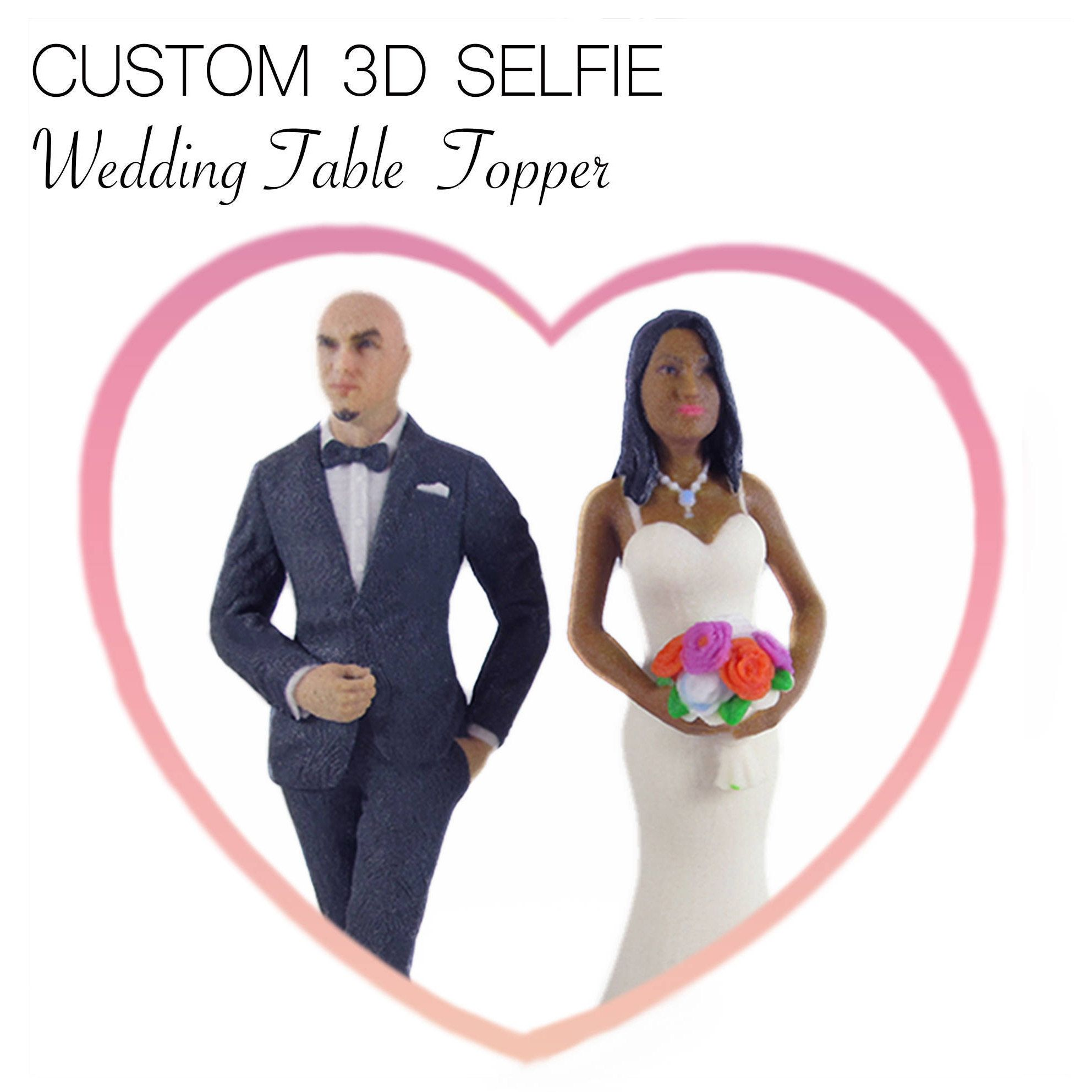65127080fcb Mixed Race Wedding Cake topper, 3D Selfie Mr & Mrs, Personalized 3D Printed  Figurines. White Bride Dress and Black Wedding Suits.