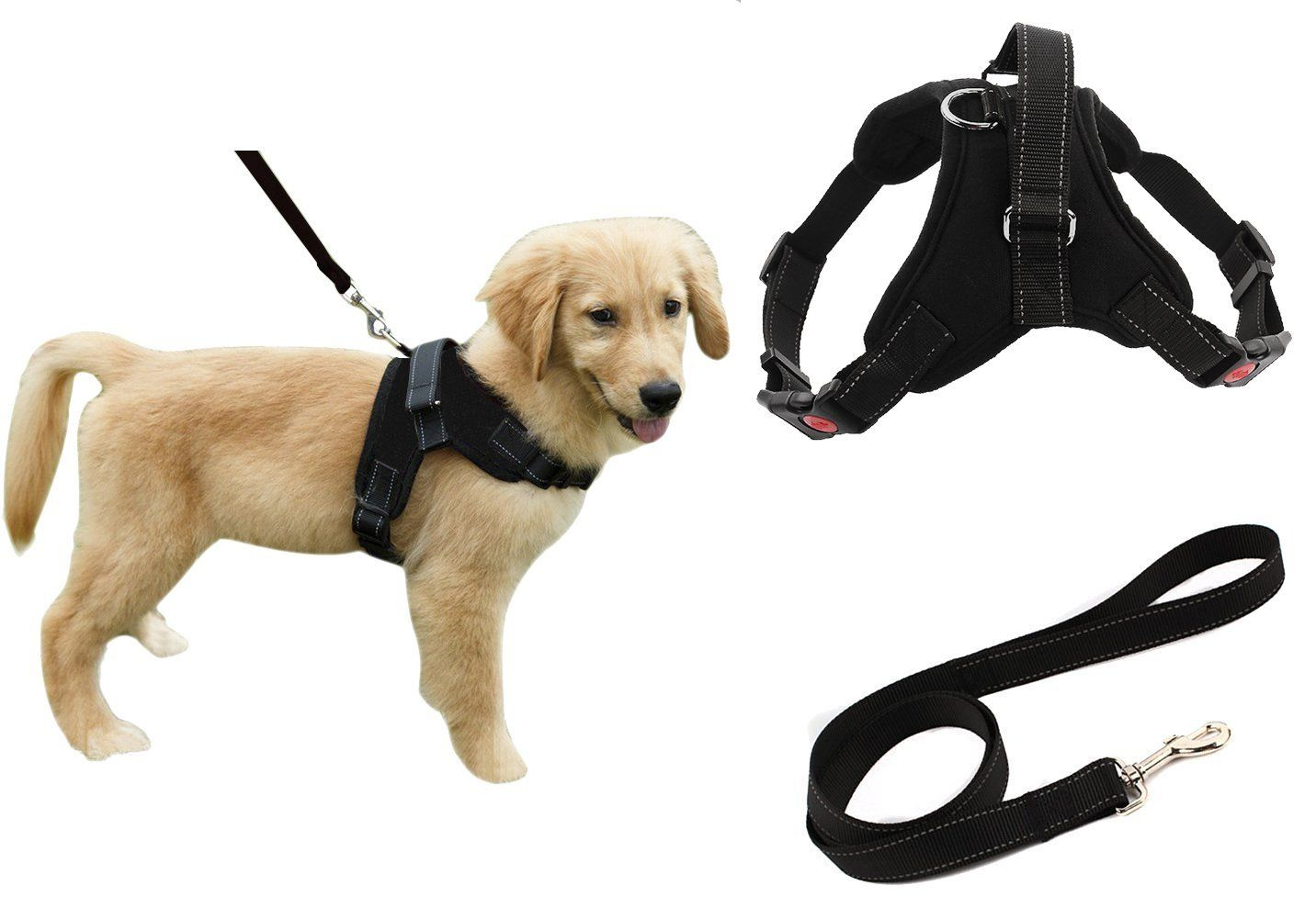 Heavy Duty Adjustable Pet Puppy Dog Safety Harness With Leash Lead