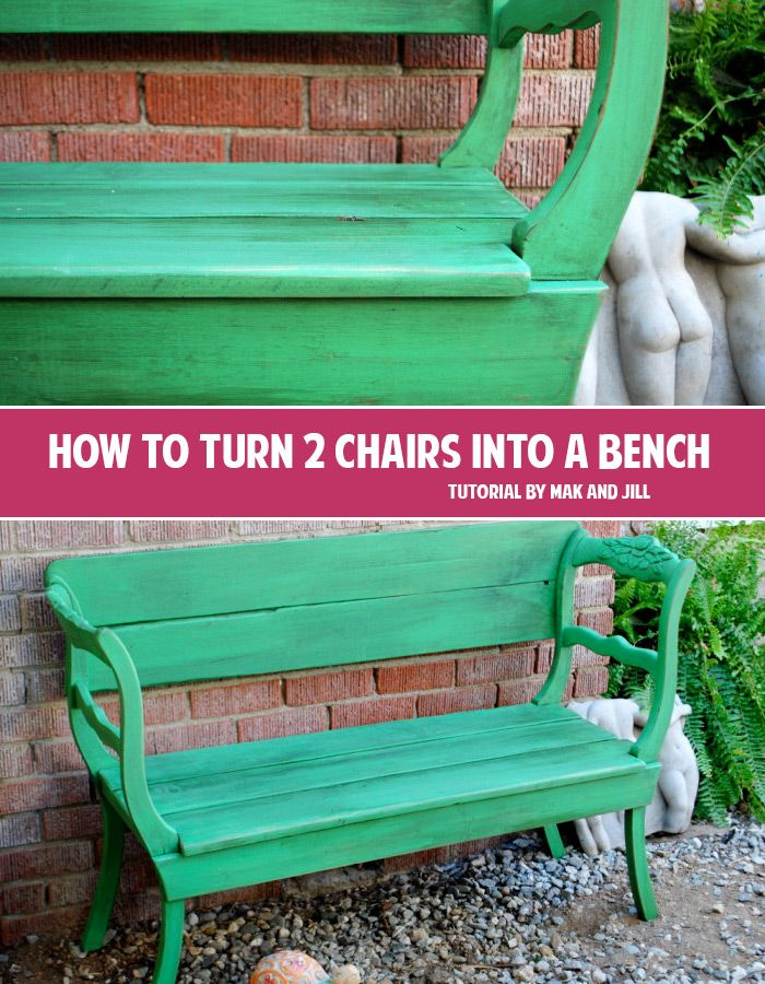 How To Turn 2 Chairs Into A Bench Andrea S Notebook Diy Chair Bench Diy Seating