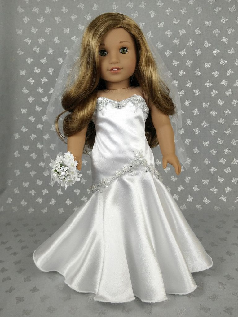 Beautiful wedding dress for american girl doll crepe fabric