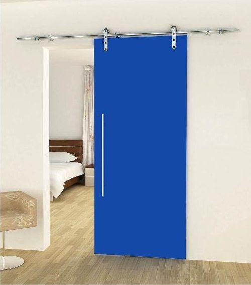porta vetro blu extrachiaro scorrevole esterna | puerta y porton ...