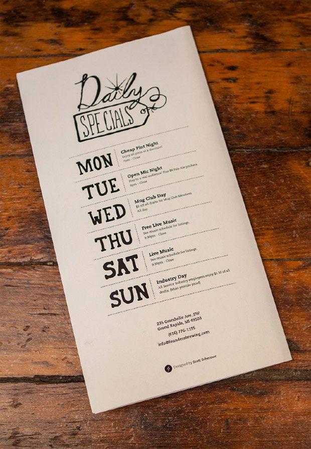30 buenos ejemplos de diseños de menús para restaurantes y bares