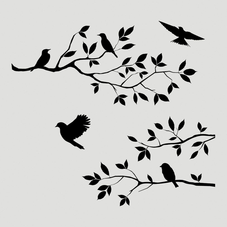 Birds Branch Tree Stencil Wall Wood Sign Crafts