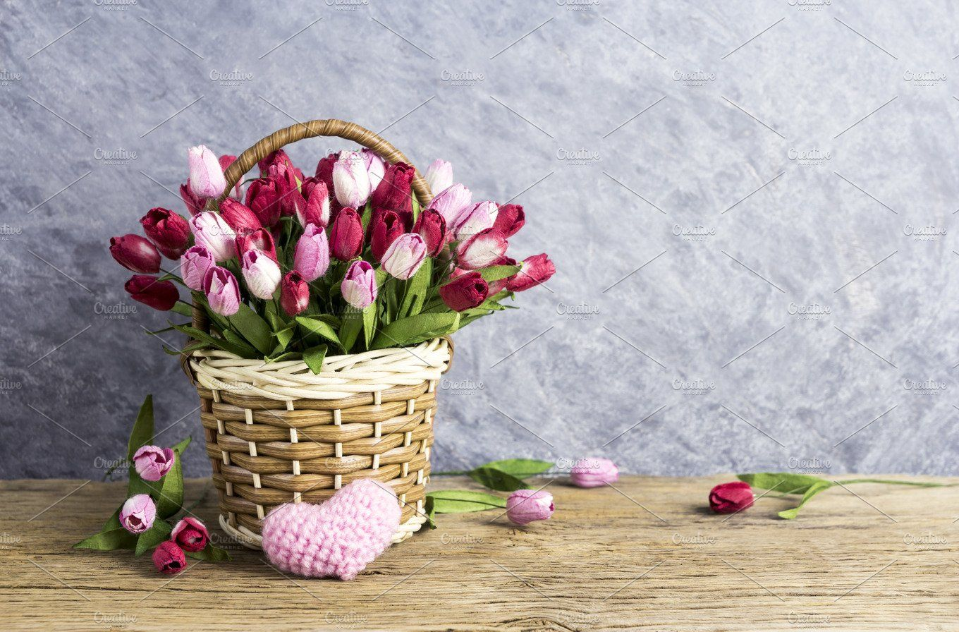 New Year Flowers-Red Tulip In Basket